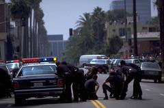 Scene los angeles riots california police cars Stock Photos