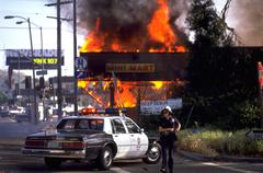 People fire scene los angeles riots california Stock Photos