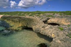 Beach water nature scene anguilla caribbean rock Stock Photos