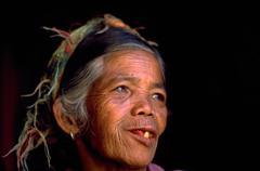 woman female people old age toothless ifugao - stock photo