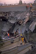 Stock Photo of nature freeway collapse workers san franc power