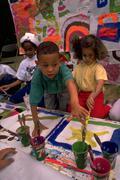 People girl art children kids painting sharing Stock Photos