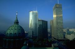 cityscape georges anglican church montreal city - stock photo