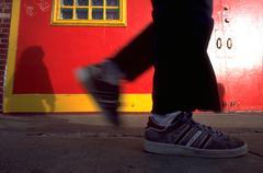 Pair feet walking sidewalk mission district san Stock Photos