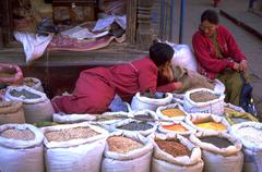 nepalese spices vendors chating street kathmandu - stock photo