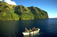 Stock Photo of water boat passengers island society islands