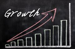 charts growing up written with chalk on a blackboard - stock photo