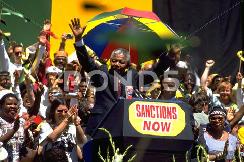 Stock photo of nelson mandela oakland california apartheid
