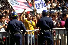 people san francisco california police cops line - stock photo