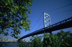 fitness benjamin franklin bridge pa span river - stock photo