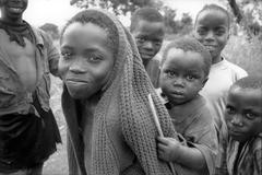 Faces hutu refugees at likole camp ngara people Stock Photos