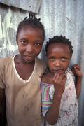 kenya girls of mukuru slum nairobi poverty happy - stock photo