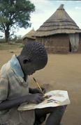 South sudan boy making drawing displaced persons Stock Photos