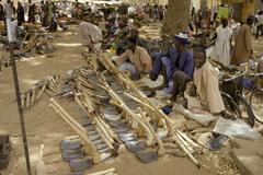 mali street market men males selling hoes segou - stock photo