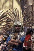mexico hispanic aztec dancer queretero feathers - stock photo