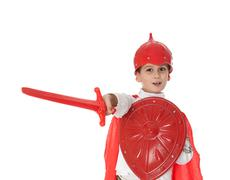 Young boy dressed like a knight Stock Photos