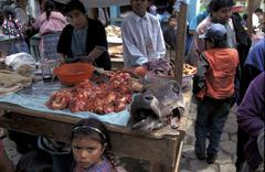 guatemala the weekly market at patachaj meat - stock photo
