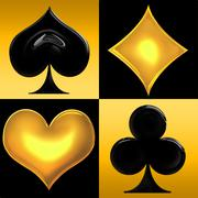 Golden playing card suits Stock Illustration