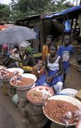 Gambia birkama market peanut sellers people 7479 Stock Photos