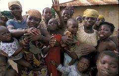 benin children kids of village near bembereke - stock photo