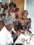 gambia taking blood for hiv test birkana people - stock photo