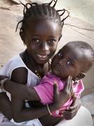 Gambia children kids of kabekel village near Stock Photos