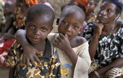 benin children kids of bembereke people person - stock photo