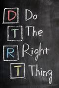 acronym of dtrt for do the right thing - stock photo