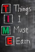acronym of time for things i must earn - stock photo