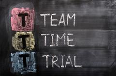 acronym of ttt for team, time, trial - stock photo