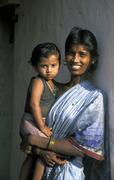 India mother child kid mulbaghal karnataka 2003 Stock Photos