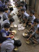India children kids eating lunch at saint st. st Stock Photos