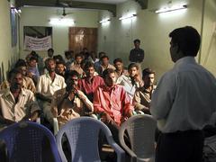 india aids awareness workshop for rickshaw tamil - stock photo