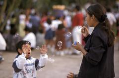 Mexico hispanic bubbles merida people sport boy Stock Photos