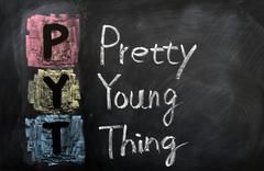 acronym of pyt for pretty young thing - stock photo
