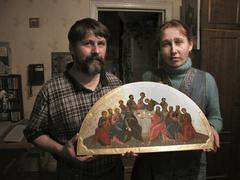 russia miniature icon by margarita mamina palekh - stock photo