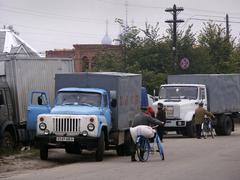 venäjä katukuvassa Palekh kuljetus kylä - stock photo