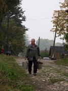 Russia street scene plyos on the volga water man Stock Photos