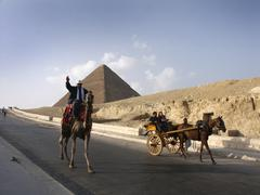 egypt tourists at giza 2002 people person nation - stock photo
