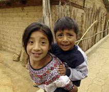 Guatemala children kids of santa clara la laguna Stock Photos