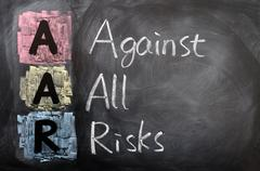 Stock Photo of acronym of aar for against all risks