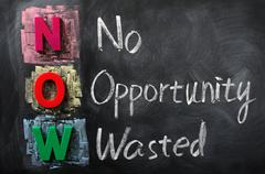 acronym of now for no opportunity wasted - stock photo