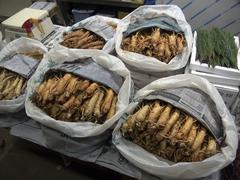 Korea ginseng on sale at karakan wholesale food Stock Photos