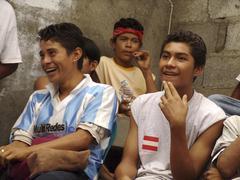 Nicaragua former gang members meeting of men Stock Photos