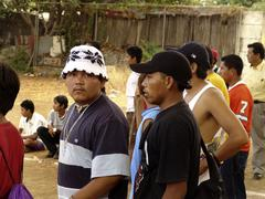 Nicaragua gang members at football match managua Stock Photos