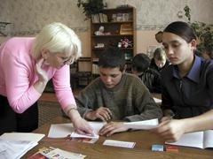 Russia secondary school yuzhno sakhalinsk island Stock Photos