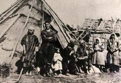 Stock Photo of russia nivhki tribals early of island historic