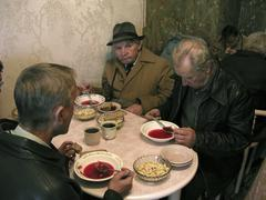 russia soup kitchen run by sisters of charity - stock photo