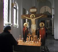 russia interior of new orthodox church yuzhno - stock photo