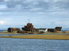 Russia abandoned ship sakhalin island russian Stock Photos